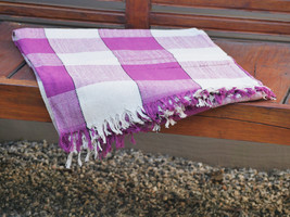 Hand Woven Fuschia Cotton Throw Blanket in Fuschia and Beige Plaid - $49.60