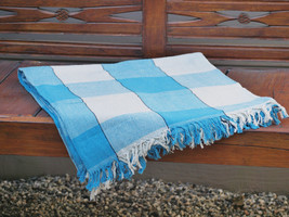 Hand Woven Cotton Throw Blanket in Blue and Beige Plaid - $49.96