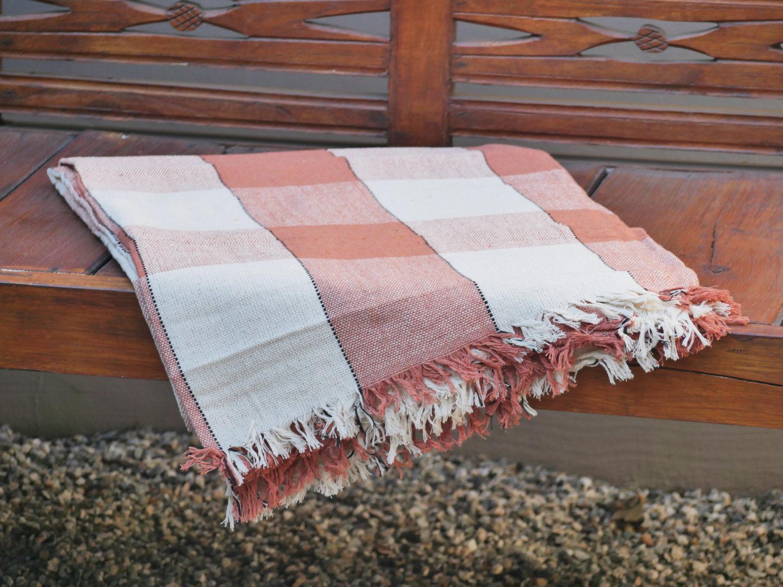 Hand Woven Cotton Throw Blanket in Orange and Beige Plaid - $49.60