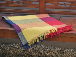 Hand Woven Yellow Throw Blanket in Yellow, Red and Navy Plaid - $49.60