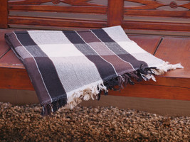 Hand Woven Brown Cotton Throw Blanket in Brown, Black and Beige Plaid Stripes - $49.60