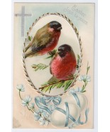 Vintage Easter Postcard 1909 Birds Finches Cross Embossed Chromolithograph  - $4.99