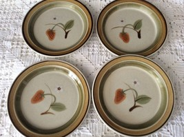 Wild Strawberry Hallkraft Mikasa PottersKraft Stoneware Japan set 4 salad plates - $41.58