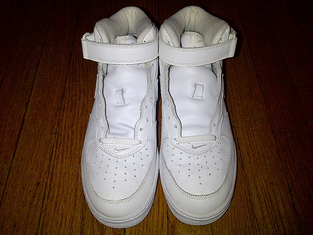 2002 Nike Air Force One 1 AF1 Mid Midtop Uptowns Leather ALL White 11 with BOX