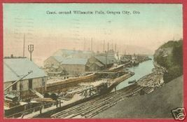Oregon City Oregon Canal Logs Mills Postcard 1908 B Js - $12.50