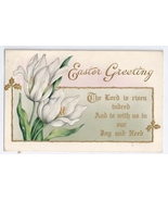Vintage Easter Postcard White Tulips Gold Details Embossed Whitney 1915 - $4.99