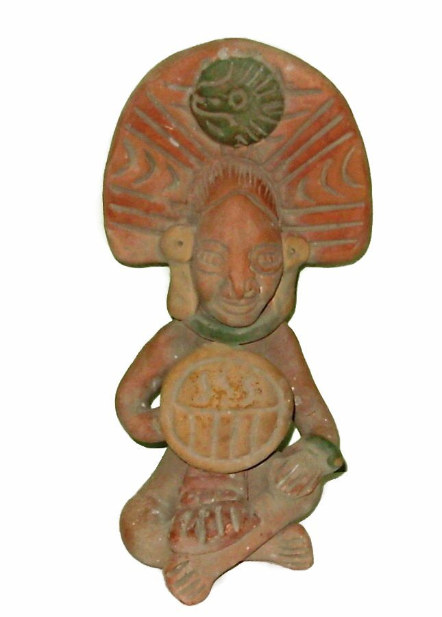 "AZTEC FOLK ART Figure with Eagle Headdress 6 ½"" Tall  RED CLAY MEXICO"
