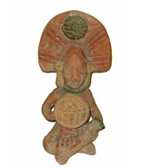 "AZTEC FOLK ART Figure with Eagle Headdress 6 ½"" Tall  RED CLAY MEXICO - $49.00"