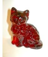 Mosser Handmade Glass Ruby Red Persian Cat Kitten Figurine Paperweight - $23.23