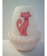 Mosser Glass PINK PUSSY CAT KITTEN Fairy Light Candle - Limited Edition ... - $28.46