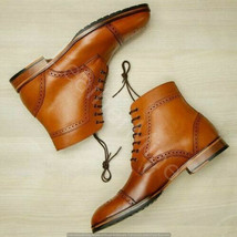 Men's Handmade Cognac Leather Ankle Dress Boots Lace up, Custom Made Boots Mens - $169.99 - $179.99
