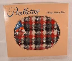 Vintage Pendleton Wool Throw Knit Blanket with Fringe Black Red Gray Pla... - $107.91