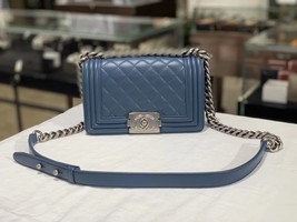 100% AUTHENTIC CHANEL BLUE QUILTED LAMBSKIN SMALL BOY FLAP BAG SHW image 1
