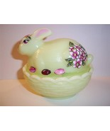 MOSSER GLASS YELLOW BUNNY BOX CANDY DISH by Former Fenton Artist Sunday ... - $67.24