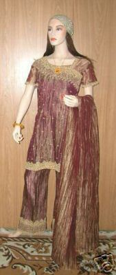 EXOTIC SILK 4pc BELLY DANCE FORMAL KAFTAN SALWAR KAMEEZ