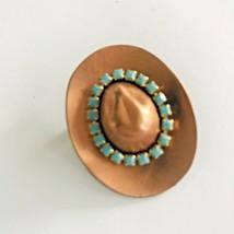Copper Tone & Blue Rhinestone Band Cowboy Girl Hat Brooch Pin J0636 - $9.49