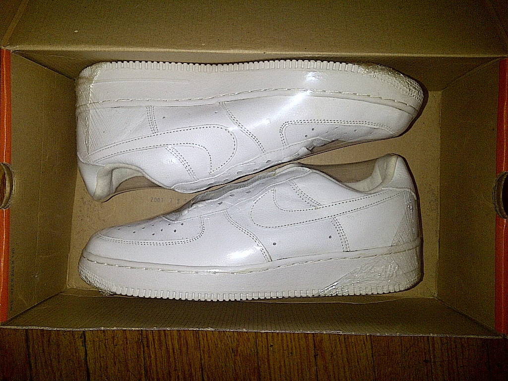 2001 Nike Air Force One 1 AF1 Low Lowtop Lowcut Leather ALL White 11 with BOX