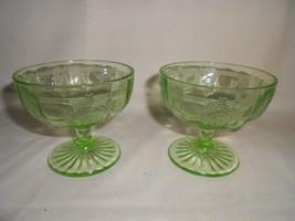 VASELINE GREEN DEPRESSION GLASS 2 DESSERT DISH'S SHERBET - $19.99