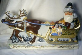 Vaillancourt Folk Art Large Santa in Golden Sleigh personally signed by Judi! image 2