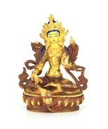 "6"" Gold Plated/Copper Dolma (Green Tara) Statue - $265.73 CAD"