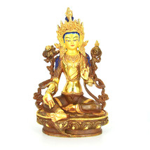 "9"" Gold Plated/Copper Dolma (Green Tara) Statue - $250.00"