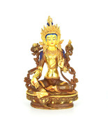 "9"" Gold Plated/Copper Dolma (Green Tara) Statue - $332.17 CAD"