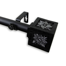 Rod Desyne Home Window Decorative Ophelia Curtain Rod 48-84 inch - Black - $64.68