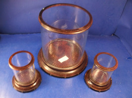 3 PC GLASS & BRONZE CANDLE HOLDERS - YANKEE CANDLE - $29.99