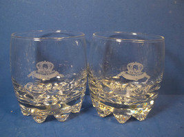 Set of (2) CROWN ROYAL Whiskey Round Rock Glass ~ Etched Logo ITALY - $11.99