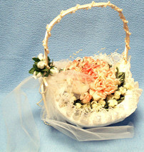 Ivory Satin Flower Girl Basket with Removable Silk Pink & Cream Roses - $37.40