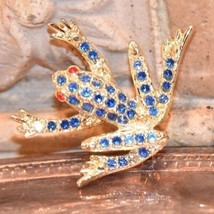 Vintage ESTATE Figural Rhinestone PIN BROOCH TREE FROG Jumping TOAD Gold... - $23.99