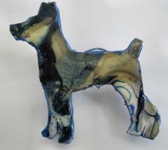 Miniature Pinscher #1 Swirls Blue Gold Silhouette Puppy Dog Pin by Bren ... - $10.95
