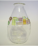 Handblown Studio Art Glass Vase with Colored Glass Chips, Trisner Clais - $40.09