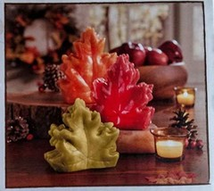 3 Piece Harvest Leaf Wax Led Candle Set/Battery Operated with Timer