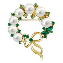 P ugster Gold Tone Bowknot Clear Green Crystal Rhinestone Pearl Wreath P... - $31.49