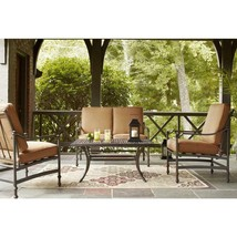 Hampton Bay Patio Seating Set With Cashew Cushions Aluminum Frame Bronze... - $934.96