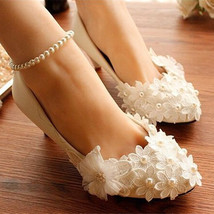 Wedding Shoes,Lace Bridal Shoes,Lace Bridal Shoes,Pearl Bridal Shoes,5cm... - $48.00