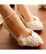 Wedding Shoes,Lace Bridal Shoes,Lace Bridal Shoes,Pearl Bridal Shoes,5cm... - $48.00