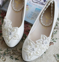 Lace Bridal Flats,Floral Lace Bridal Shoes,Bridesmaids Shoes,wedding shoes - £38.61 GBP