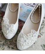 Lace Bridal Flats,Floral Lace Bridal Shoes,Bridesmaids Shoes,wedding shoes - $48.00
