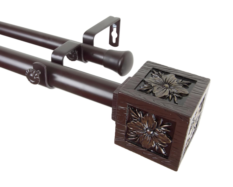 ... Double Curtain Rod 48-84 inch - Mahogany - Curtain Rods & Finials