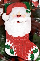 Bucilla Happy Santa Face Christmas Eve Holly Holiday Felt Stocking Kit 84819 - $52.95