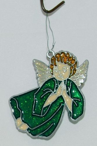 Unbranded Glittering Angel in Green Glass Sun Catcher Ornament Multi Colored