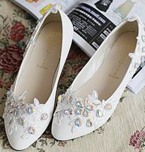 White Bridal Shoes,Floral Lace Bridal Flats,Bridesmaids Shoes,Affordable shoes - $48.00