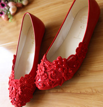 Red Bridesmaids Shoes,Red Pearls Bridal Shoes,Red wedding flats,wedding shoes - $48.00