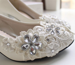 White Bridal Shoes,White Lace Bridal Shoes,Bridesmaids Shoes,Wedding heels - $48.00
