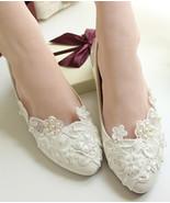 White Lace Bridesmaids Shoes,Rhinestone Bridal Shoes,White lace wedding ... - £39.12 GBP