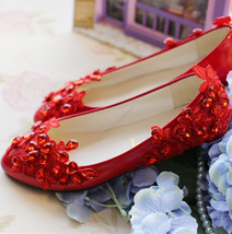 Red Bridesmaids Shoes,Red Bridal Shoes,Full size wedding shoes,wedding f... - £39.12 GBP