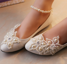 Wedding Shoes,Lace Bridal Shoes,White/Ivory Wedding pearl ankle strap Flats shoe - $48.00