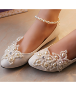Wedding Shoes,Lace Bridal Shoes,White/Ivory Wedding pearl ankle strap Fl... - £39.09 GBP